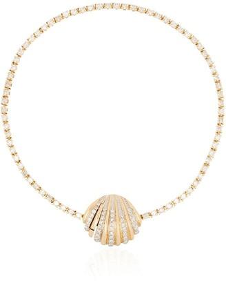 Yvonne Léon Yellow 18K gold diamond shell bracelet