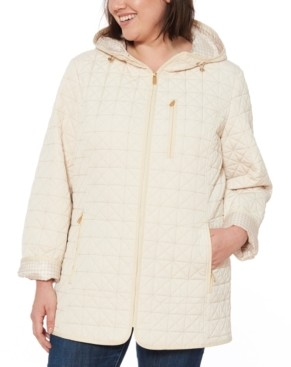 Jones New York Plus Size Water-Resistant Hooded Quilted Jacket
