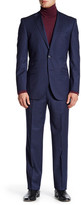 English Laundry Navy Pinstripe Two Button Notch Lapel Wool Suit