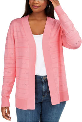 Karen Scott Pointelle Open-Front Cardigan