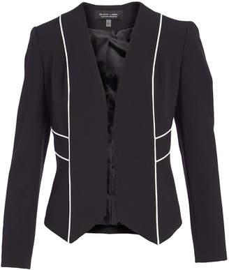 Evan Picone Women's Blazers BLACK/NATURAL - Black & White Contrast-Piped Collarless Jacket - Women