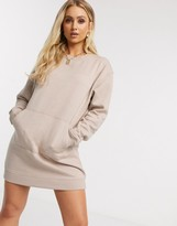Daisy Street oversized sweater dress with pocket detail in beige
