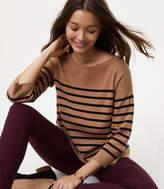 LOFT Striped Split Back Sweater