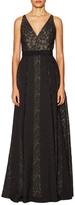 Badgley Mischka V-Neck Print Gown