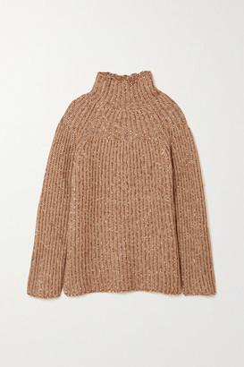 By Malene Birger Atuna Ribbed Melange Wool-blend Turtleneck Sweater - Tan
