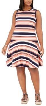 Michael Kors Michael Plus Size Striped Flounce Dress