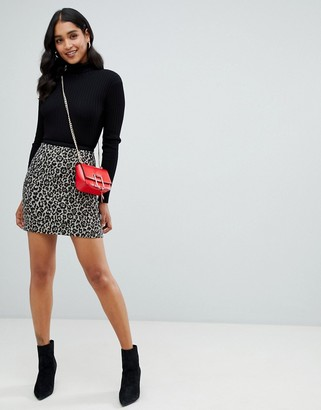 Morgan mini skirt in leopard