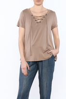 Smell the Roses Taupe Basic Top