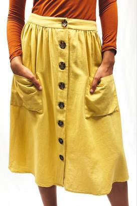 Lumiere Yellow Button-Front Skirt