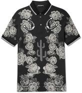 Dolce & Gabbana - Appliquéd Floral-print Cotton-piqué Polo Shirt