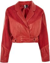 Topshop Suede & Leather Cropped Jacket