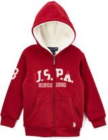 U.S. Polo Assn. Burgundy'USPA' Sherpa-Lined Zip-Up Fleece Hoodie - Boys