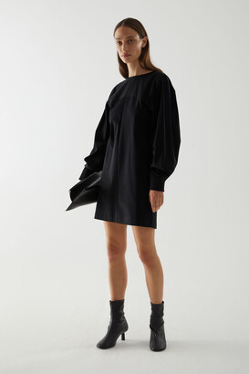 Cos Organic Cotton Dress With Voluminous Sleeves