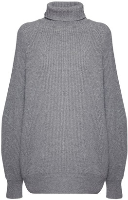 Sportmax Rib Knit Cashmere & Wool Turtleneck