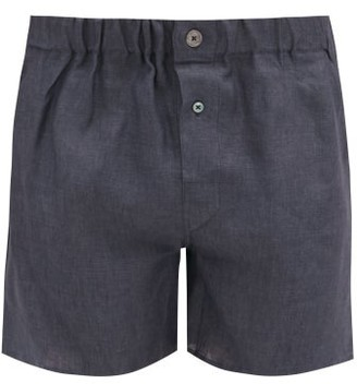Emma Willis Slim-fit Linen Boxer Shorts - Dark Grey