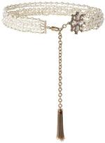 St. John Pearl Swarovski Crystal Tassel Chain Belt