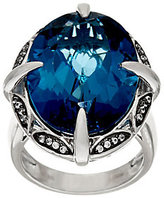 QVC As Is London Blue Topaz & White Zircon Sterling Silver Ring 26.00 cttw