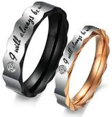"""Epinki Stainless Steel Wedding Band Couple Ring """"I Will Always Be With You"""" with CZ Women Size 9 & Men Size 8"""