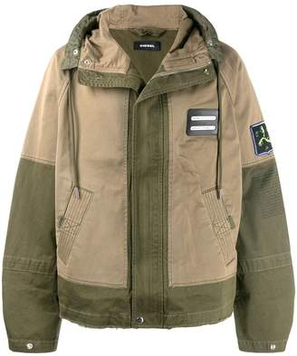 Diesel mixed fabric parka