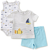 Starting Out Baby Boys Newborn-9 Months Sailboat Shirt, Printed Bodysuit, & Shorts 3-Piece Set