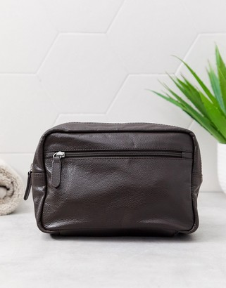 Asos DESIGN leather toiletry bag in brown with zip detail