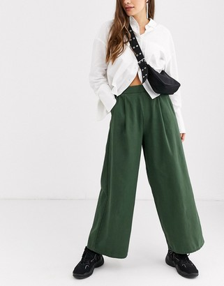 ASOS DESIGN easy wide leg canvas pant with elasticated back