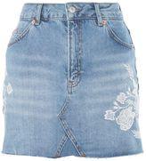 Topshop MOTO Tonal Embroidery Skirt