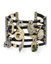 Alexis Bittar Multi-Row Leather Cuff Bracelet with Crystal Charms