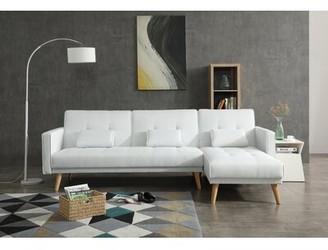 Brayden Studio Halliday Convertible Reversible Sleeper Sectional Upholstery Color: White