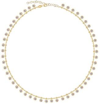 GABIRIELLE JEWELRY 14K Gold Vermeil Cubic Zirconia Loaded Bevel Drop Necklace