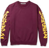 SASQUATCHfabrix. Iroha Distressed Fleece-back Cotton-blend Jersey Sweatshirt - Burgundy