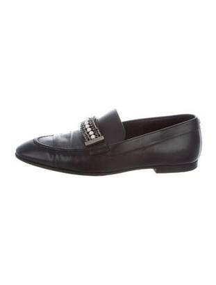Chanel Faux Pearl Accents Leather Loafers Black