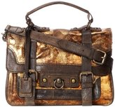 Frye Cameron Small Metallic Cracked Satchel