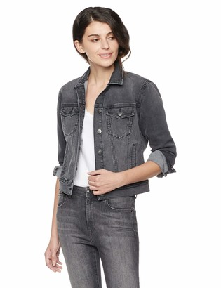 PD Peppered Denim Women's Classic Long-Sleeve Button-Front Denim Jacket Black X-Large