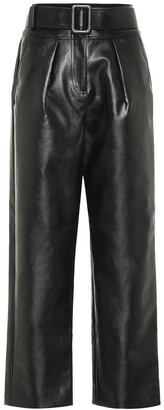 Self-Portrait High-rise wide-leg leather pants
