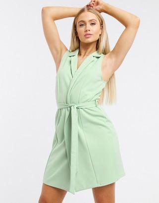 Flounce London Club sleeveless tie waist blazer dress in sage green