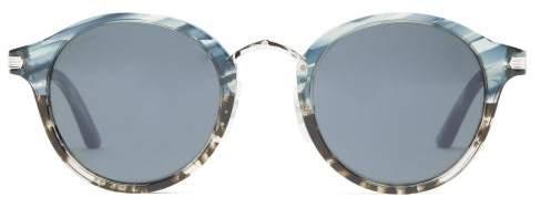 Cartier Eyewear - Round Marbled-acetate Sunglasses - Mens - Tortoiseshell
