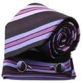 Epoint Brown Stripes Woven Silk Neckie Cufflinks Handkerchiefs Present Box Set maroon birthday gifts for man Pointe Tie Maroon