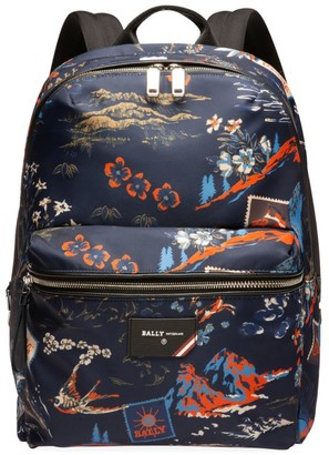 Bally Explore Ferey Floral Nylon Backpack