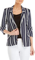 Love Tree Stripe Three-Quarter Sleeve Blazer