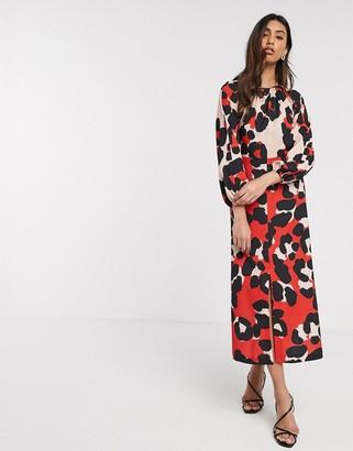 Closet London Closet long sleeve split midi dress in contrast animal print