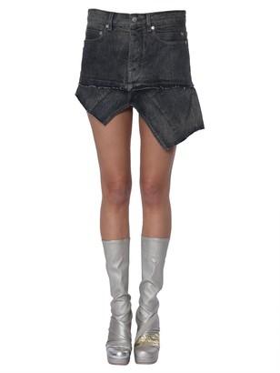 Rick Owens Asymmetric Mini Denim Skirt