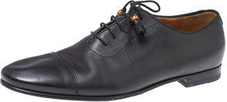 Gucci Black Leather Bamboo Tassel Lace Up Oxfords Size 43