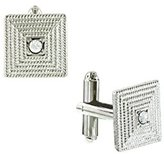 1928 Jewelry Unisex Silver Tone Crystal Square Cuff Links
