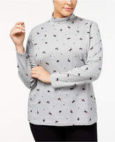 Karen Scott Plus Size Holiday-Print Mock-Neck Top, Created for Macy's