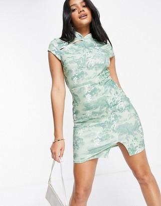 I SAW IT FIRST scuba crepe print asym split bodycon dress in green