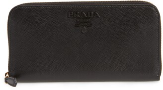 Prada Monochrome Saffiano Leather Zip Around Wallet