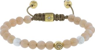 Shamballa Peach Moonstone And White Ceramic Beaded Bracelet