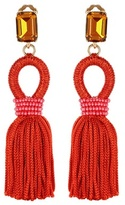 Oscar de la Renta Embellished Tassel Clip-on Earrings