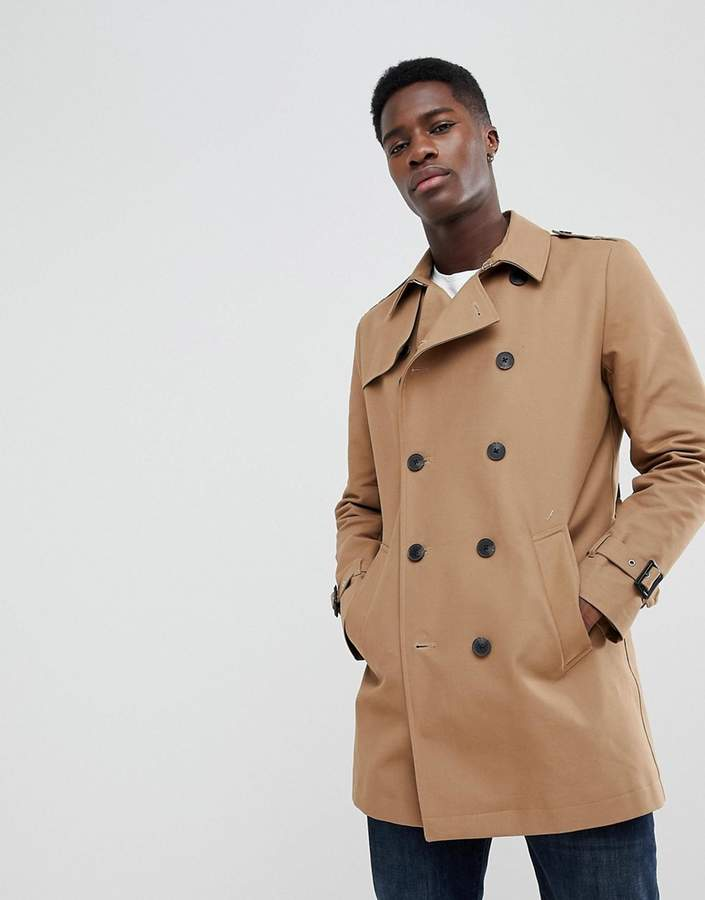 Asos Design Shower Resistant Double Breasted Trench In Tobacco